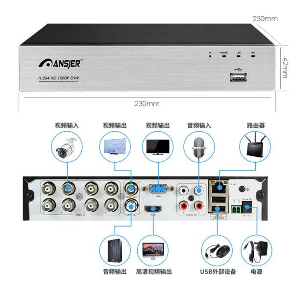 远程家用监控设备套装 500万8路161录像机结构图